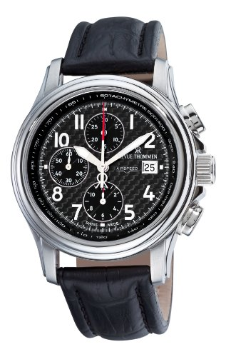 Revue Thommen Men's 16041-6537 Airspeed XLarge High Tech Analog Display Swiss Automatic Black Watch