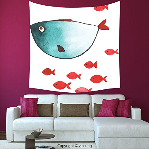 House Decor Square Tapestry-Ocean Animal Decor Cute Chubby Fish With Little Underwater Aquatic Life Kids Nursery Theme Blue Red_Wall Hanging For Bedroom Living Room (Little Alchemist Halloween)