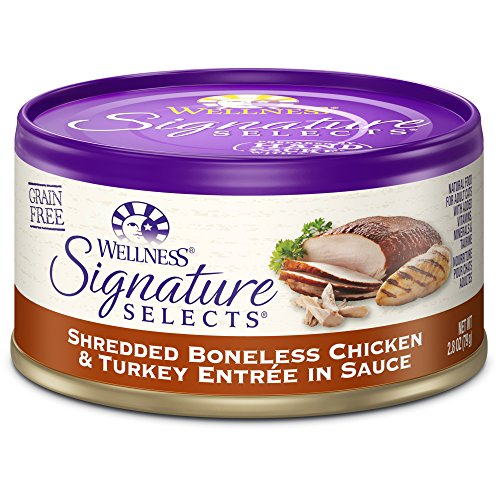 Wellness Signature Selects Natural Canned Grain Free Wet Cat Food, Shredded Chicken & Turkey, 2.8-Ounce Can (Pack Of 24)