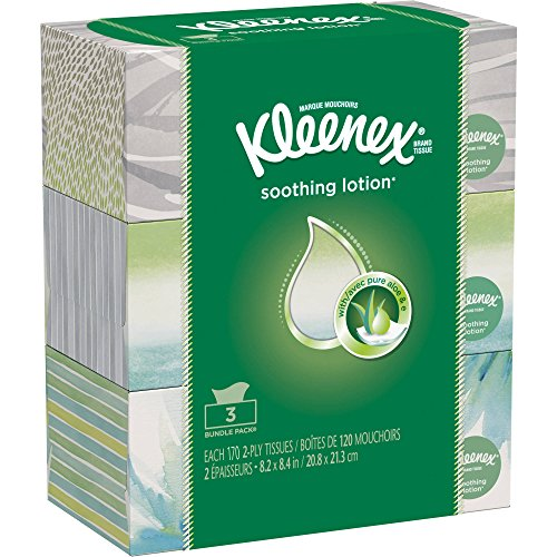 Kleenex Lotion Facial Tissue, 170 Count, (Pack of 3)