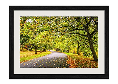 CU.RONG Autumn In The Park Road Wood Frame Poster Home Art Deco Picture Print Framed Painting(12x16 in Black Frame)