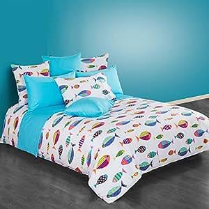 Cliab fish sheet set bedding full 100 cotton for Fishing bedding sets