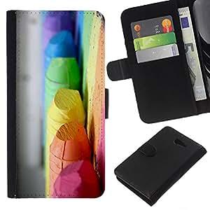 KLONGSHOP // Tirón de la caja Cartera de cuero con ranuras para tarjetas - colores crayola niños verde pastel amarillo - Sony Xperia M2 //