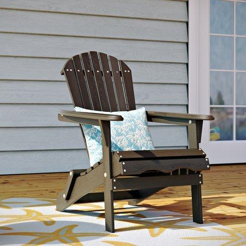 Foldable Adirondack Chair Wooden Furniture for All Weather Conversations on Deck Patio Outdoor Garden Poolside Beach (Dark Brown) (Breezesta Adirondack)