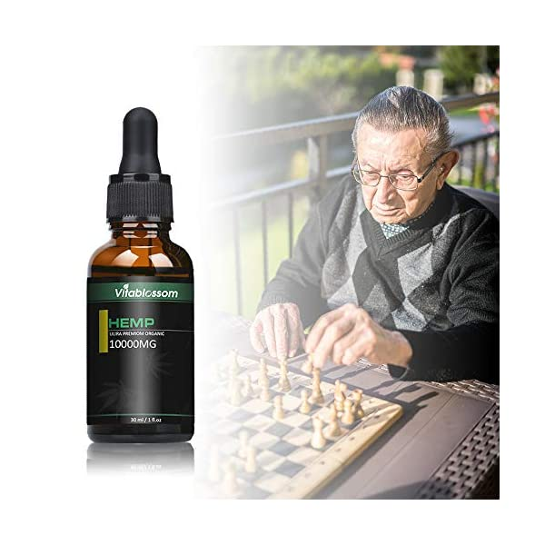 Vitablossom Organic Hemp Oil, Premium Powerful Formula, 100% Safe & Natural Ingredients (10000mg/30ml)