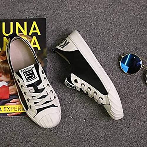 Scarpe Chiusa TTSHOES Estate Black Sneakers Nero Per CN39 US8 Nappa UK6 EU39 Punta Comoda Piatto Bianco Donna Primavera vxvESqr
