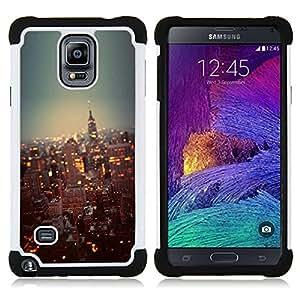 """Samsung Galaxy Note 4 IV / SM-N910 - 3 en 1 impreso colorido de Altas Prestaciones PC Funda chaqueta Negro cubierta gel silicona suave (York City Lights Rascacielos"""")"""