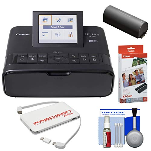 Canon SELPHY CP1300 Wi-Fi Wireless Compact Photo Printer with NB-CP2LH Battery Pack + KP-36IP Color Ink Paper Set + Power Bank + Kit