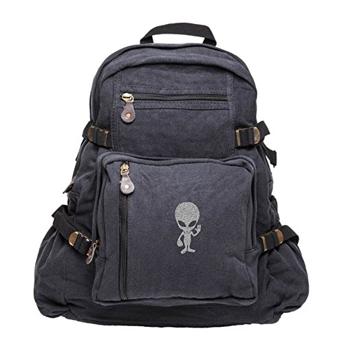 Price comparison product image Alien Cartoon Sport Heavyweight Canvas Backpack Bag in Black & Silver Glitter,  Large