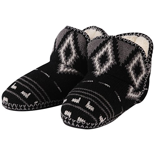 Forfoot for Women, Indoor Super Soft Cozy Slippers with Slip-Resistant TPR Bottom Sole Black White Samll