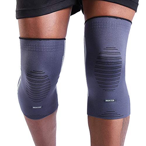 BERTER Knee Compression Sleeve Support for Running, Jogging, Sports – Brace for Joint Pain Relief, Arthritis and Injury Recovery – A Pair (Grey-Blue, Large(17.0-19.5″))