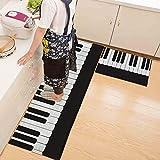 yazi Non-Slip Doormat Kitchen Rugs Black&White&Blue Style Mat (15.7x23.6inch + 15.7x45.3inch)