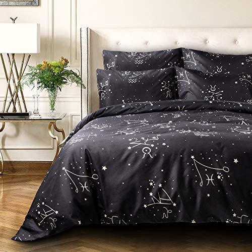 NTBAY 3 Pieces Duvet Cover Set, Brushed Microfiber, Constellation Patterns Printed, Bedding, Black Constellation, Queen ()