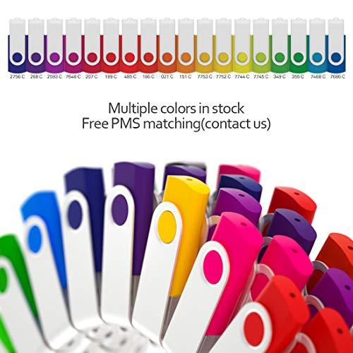 100 Pack 4GB USB Flash Drive Custom USB Thumb Drive Promotional Memory Stick Personalized Logo Jump Drive Twister Swivel Design in Bulk - PMS by MEINAMI (Image #2)