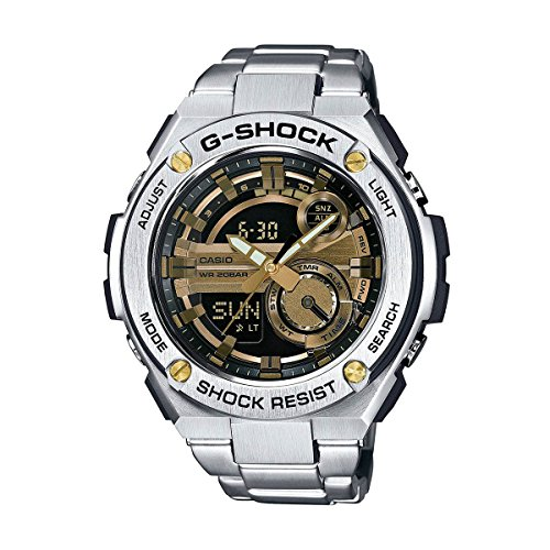Gold Accent Series (G-Shock GST-210D-9A G-Steel Series Luxury Watch - Silver/Gold / One Size)