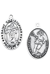 """Lacrosse Oval Sterling Silver Women or Girls St. Christopher Sport Medals, Patron Saint of Travelers with 18"""" Chain"""