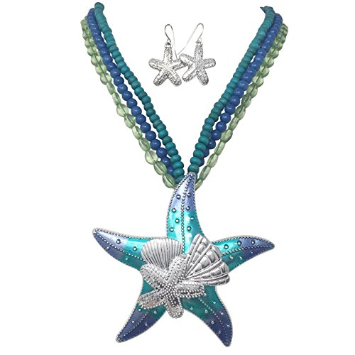 Large Mixed Sealife Nautical Boutique Statement Necklace & Dangle Earrings Set (3 Row Blue & Green Starfish & Shells) (Pearl Shell Set Jewelry)