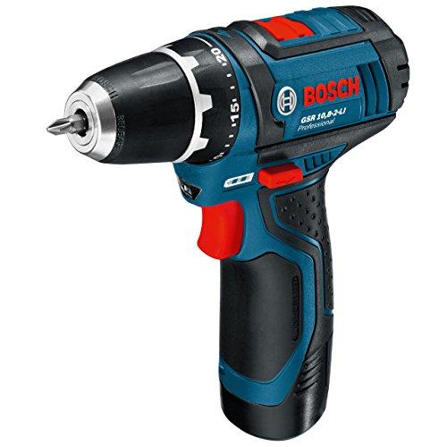 Bosch Professional GSR 10,8-2-LI Akku-Bohrschrauber (2x2,0 Ah Akku, 10 mm Bohrfutter, 950 g inkl. Akku, 10,8 V, L-Boxx) blau, 0601868109