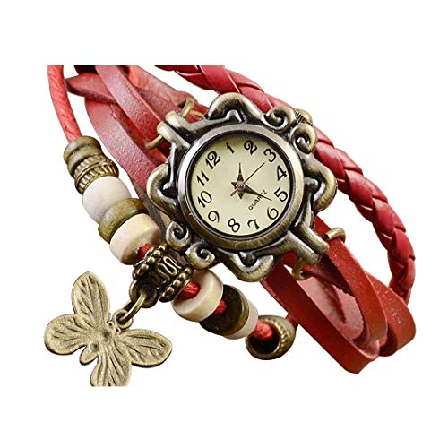 Price comparison product image Hessimy Womens Watches New Butterfly Pendant Quartz Fashion Weave Wrap Around Leather Bracelet Lady Woman Wrist Watch Girls Student Classic Casual Retro Analog Digital Watches for Women On Sale