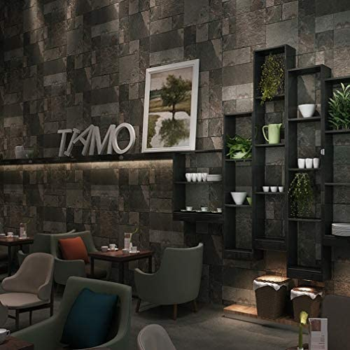 壁紙、ダークレトロロックブロックコーヒーショップ壁紙人格西洋レストランホテルバー防水壁装材 壁紙-5.26