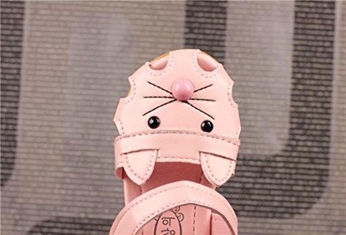 IGEMY Beliebte Kinder Kinder Mädchen Cartoon Cat Face Print Sandalen Freizeitschuhe Rosa
