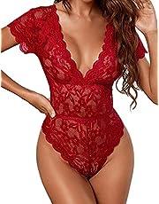 Avidlove Sexy Lace Lingerie for Women Lace Babydoll Floral Lace Scallop Trim Teddy Bodysuit