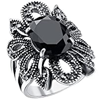 Fashion Jewelry 925 Silver Black Gemstone Women Bridal Ring Gift Size 8-10 Newly (10)