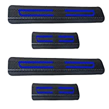 Universal Carbon Fiber Door Sill Scuff Plate Car Side Door Edge Protection Guards Trims Stickers+Blue High Intensity Reflective Tape Fit All Cars 4pcs