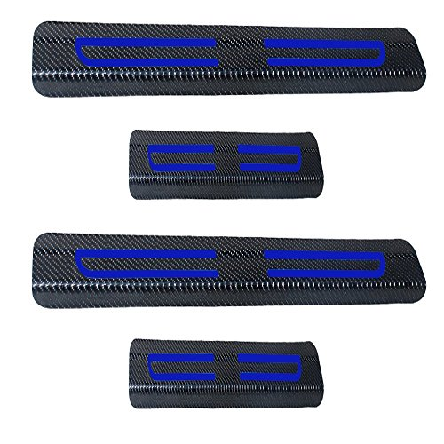 For Cadillac Escalade CTS SRX Vinyl Door Sill Protector Blue 4pcs ()