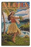 Aloha - Hawaii Hula Girl on Coast (10x15 Wood Wall Sign, Wall Decor Ready to Hang)