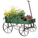 Wagon Wheel Planter Bed Garden Flower Pot Cart Rustic Outdoor Decor Wood