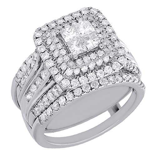 - 14K White Gold Round & Princess Cut Diamond Triple Halo Engagement Ring + Enhancer Wrap Bridal Set 2 Cttw