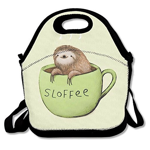 A Damned Adorable Sloth And Coffee Insulated Lunch Bag Picnic Lunch Tote For Work, Picnic, Travelling ()