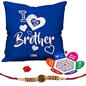 Indigifts Rakshabandhan Gifts for Brother Printed Cushion Cover 12″x12″ with Filler, 1 Rudraksha Rakhi, Roli, Greeting Card – Rakhi Gifts for Brother, Raksha Bandhan Gifts for Brother