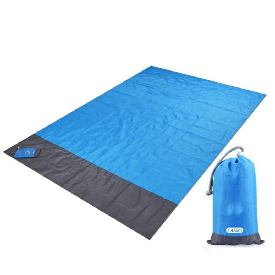 Picknickdecke 140 x 200 cm Stranddecke Wasserdichte sandabweisende Tragbare Camingmatte Matte mit 4 Pfosten Yukio Travelfun