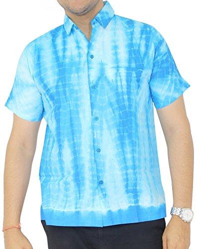 La Leela Aloha Hawaiian Tropical 100% Cotton Father Cheap Solid plain male Short Sleeves Button Down Tropical Shirts (Cheap Tie Dye Shirts)