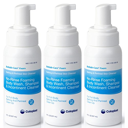 Coloplast Bedside Care No-Rinse Bathing and Perineal Foaming Skin Cleanser - 8 ounce - Pack of 3