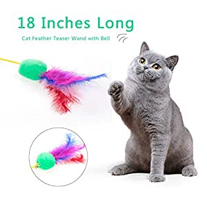 Goolsky Cat Feather Teaser Wand 18 Inches Long Interactive Feather Teaser Toy with Bell for Cats Kittens