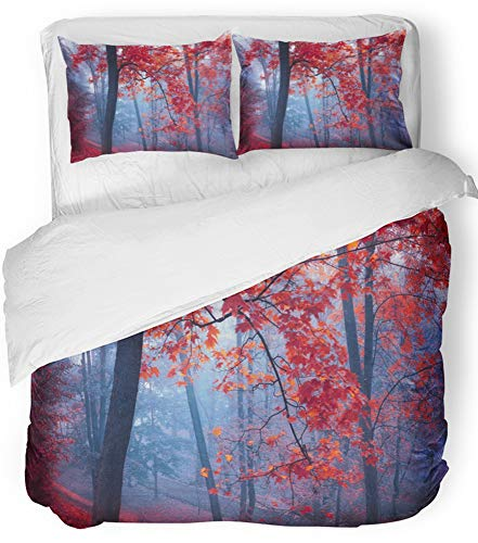 Emvency Bedsure Duvet Cover Set Closure Printed Decorative Green Fall Trees with Red Leaves in Blue Mist at Autumn Park Fog Morning Botany Breathable Bedding Set With 2 Pillow Shams Full/Queen Size