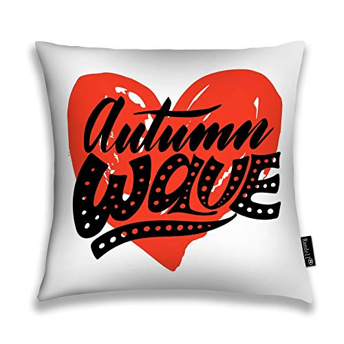 Throw Pillow Covers Autumn Wave Red Heart Hand Modern Seasonal Tourist Home Decorative Throw Pillowcases Couch Cases 20