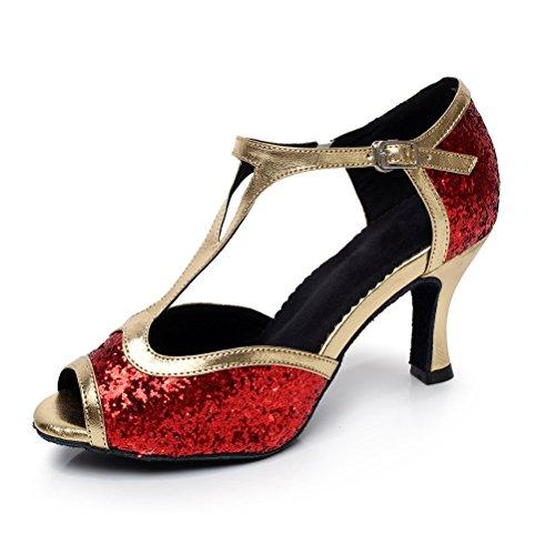 BCLN Womens Open toe Sandals Latin Salsa Tango Heels Practice Ballroom Dance Shoes with 2.75 Heel Red RkXEShoxe