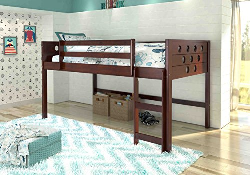 - Donco Kids 780TCP Mission Low Loft Bed with Slide and Zebra Tent, Twin, Dark Cappuccino