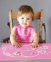 modern-twist Baby Silicone Bucket Bib, Elephant Hugs, Pink