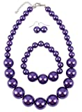 Shineland Simple Large Big Simulated Pearl Statement Necklace Bracelet and Earrings Jewelry Set (Purple)