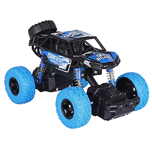 HUASHAN Pull Back Cars Monster Truck Toys, with Music & Light High Speed Die-cast Buggy Functions Toy Cars High Speed Long Distance 4 Wheel Drive Friction Powered Off-Road Rock Crawler Car Toy (Blue)