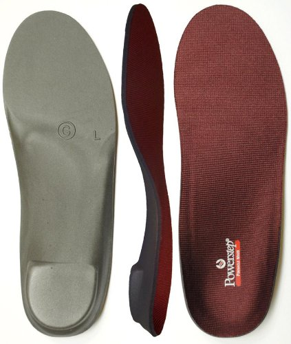 Powerstep Pinnacle Maxx Full Length Orthotic Shoe Insoles , Maroon/Black, Men's 8 - 8.5 / Women's 10 - 10.5 M (Orthotic Full Length Leather Shoe)