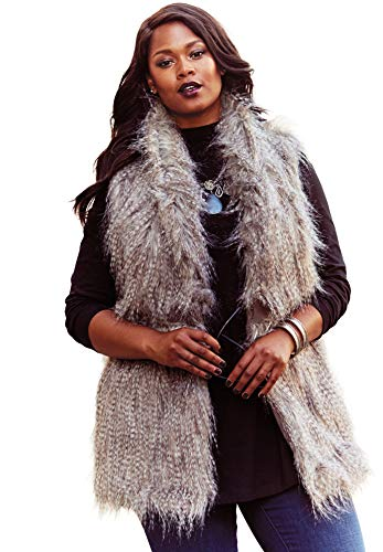 Roamans Women's Plus Size Faux Fur Vest - Animal, 22 W (Vest Long Fur Faux Size Plus)
