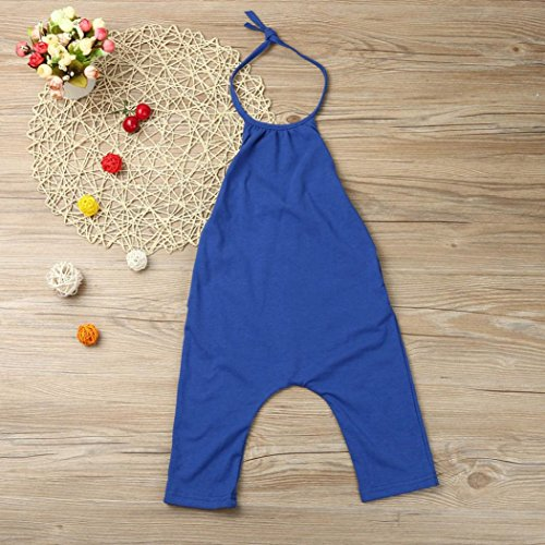 Franterd Baby Girls Straps Rompers, Kid Jumpsuits Piece Pants Clothing (Blue, 2T)