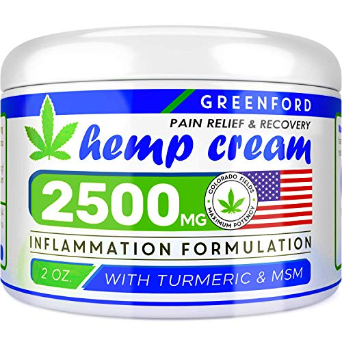 Pain Relief Hemp Cream 2500 Mg - Hemp Extract Cream for Inflammation & Sore Muscles - Natural Joint, Arthritis & Back Pain Support - Made in USA - Arnica, MSM, Turmeric - Best for Skin Health