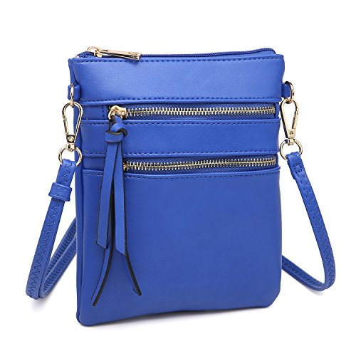 Dasein Women Functional Crossbody Purse Multi Pocket Over Shoulder Handbag Lightweight Small Pouch (blue)